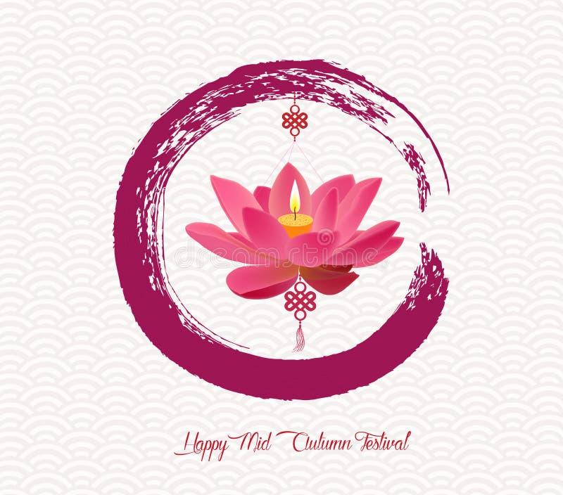 Китайский дизайн круга кисти сообщения фестиваля фонарика лотоса бесплатная иллюстрация