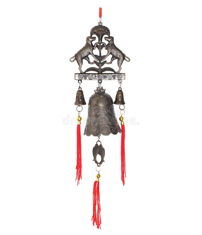 Китайский колокол ветра изолированный на белой предпосылке стоковое изображение