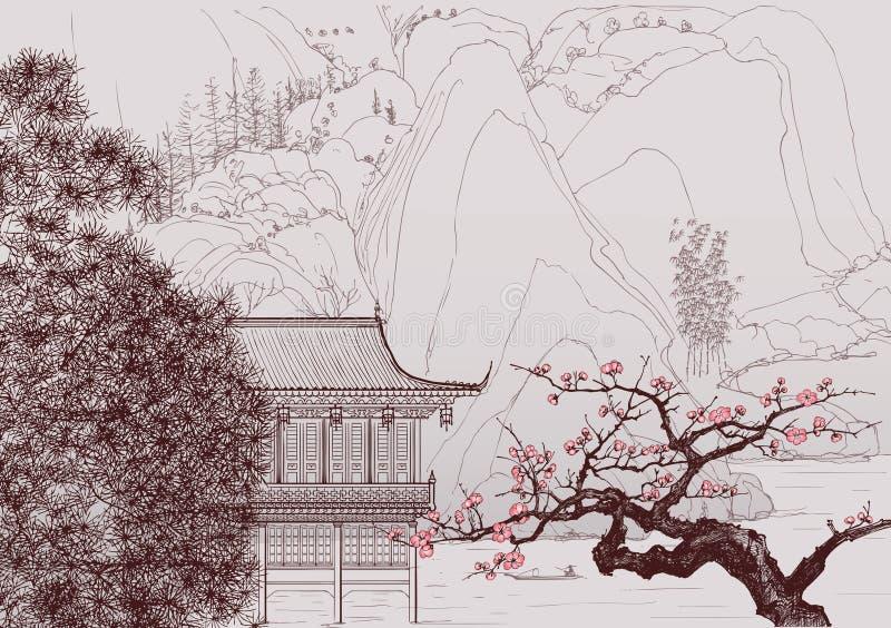 китайский ландшафт иллюстрация вектора