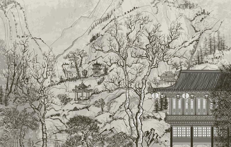 Китайский ландшафт бесплатная иллюстрация