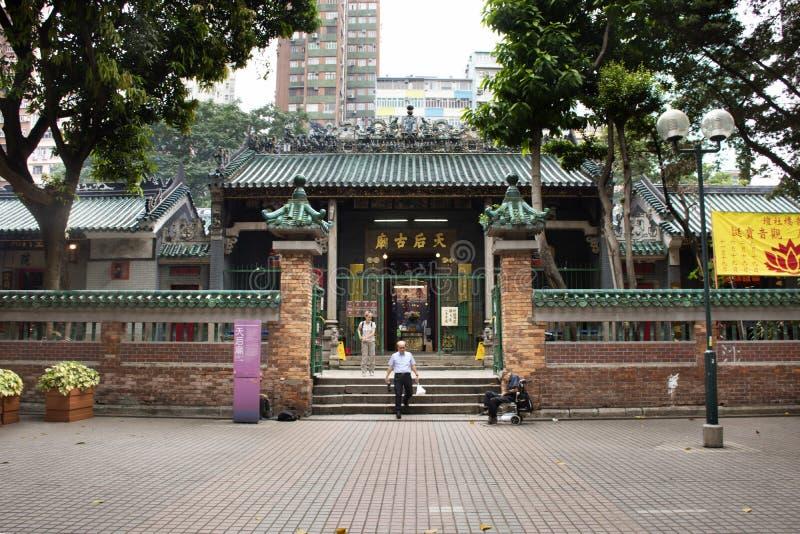 Китайский народ навестил и уважает моля богиня моря Mazu китайская на виске Hau олова в Гонконге, Китае стоковое изображение