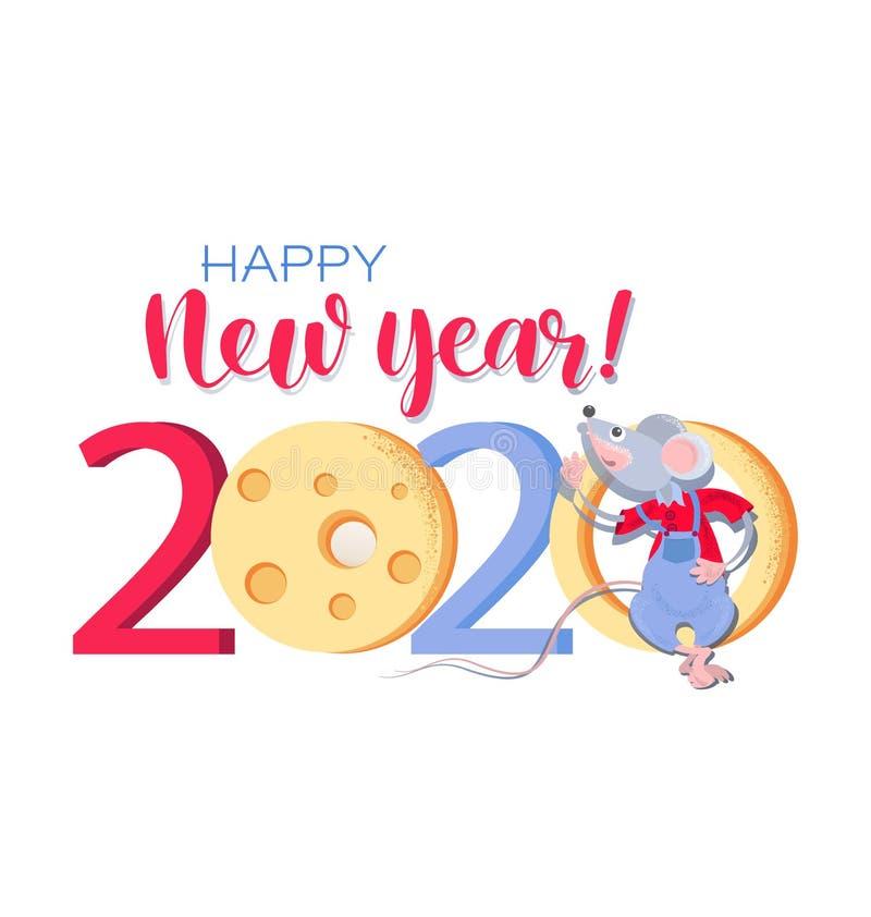 Китайский Новый Год 2020 Приветствовать сard со смешной крысой и сыром иллюстрация штока