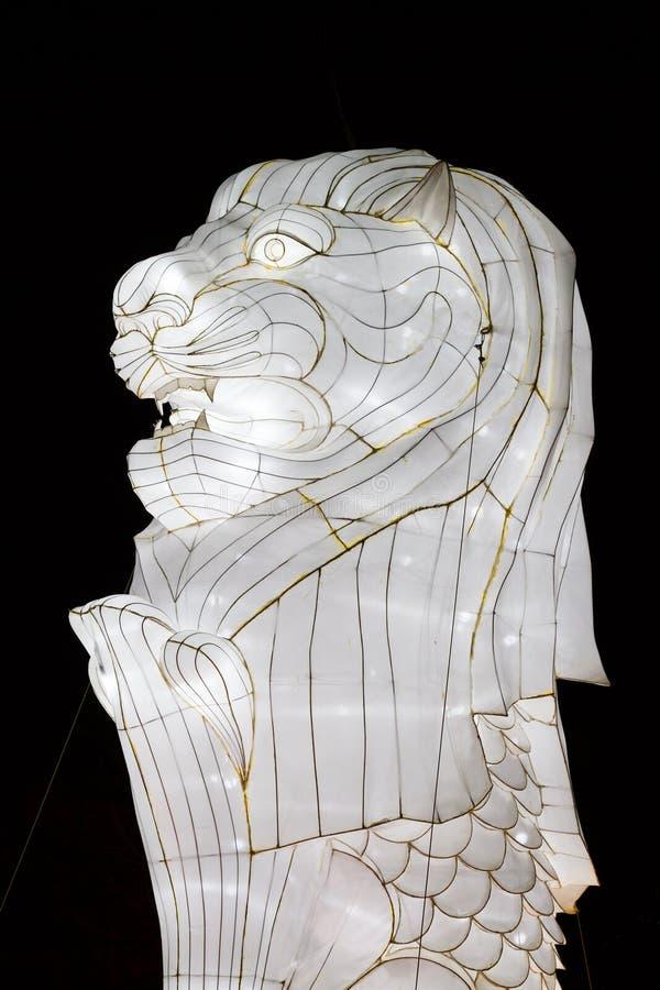 Китайский Новый Год Сингапур Merlion Нового Года фестиваля фонарика стоковое изображение