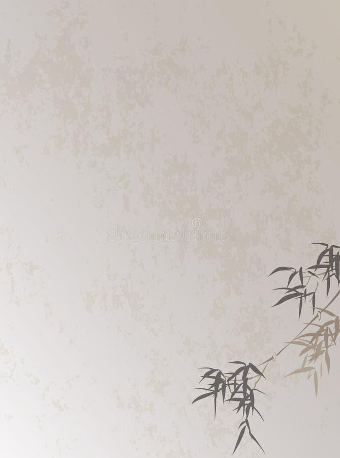 Китайский ретро бамбук стиля выходит предпосылка иллюстрация вектора