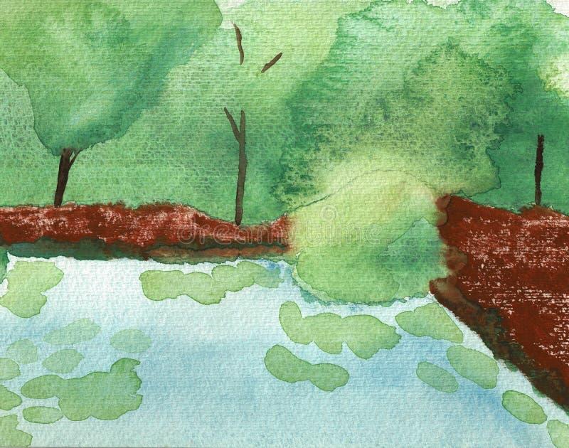 Китайский сад с озером и деревьями иллюстрация штока