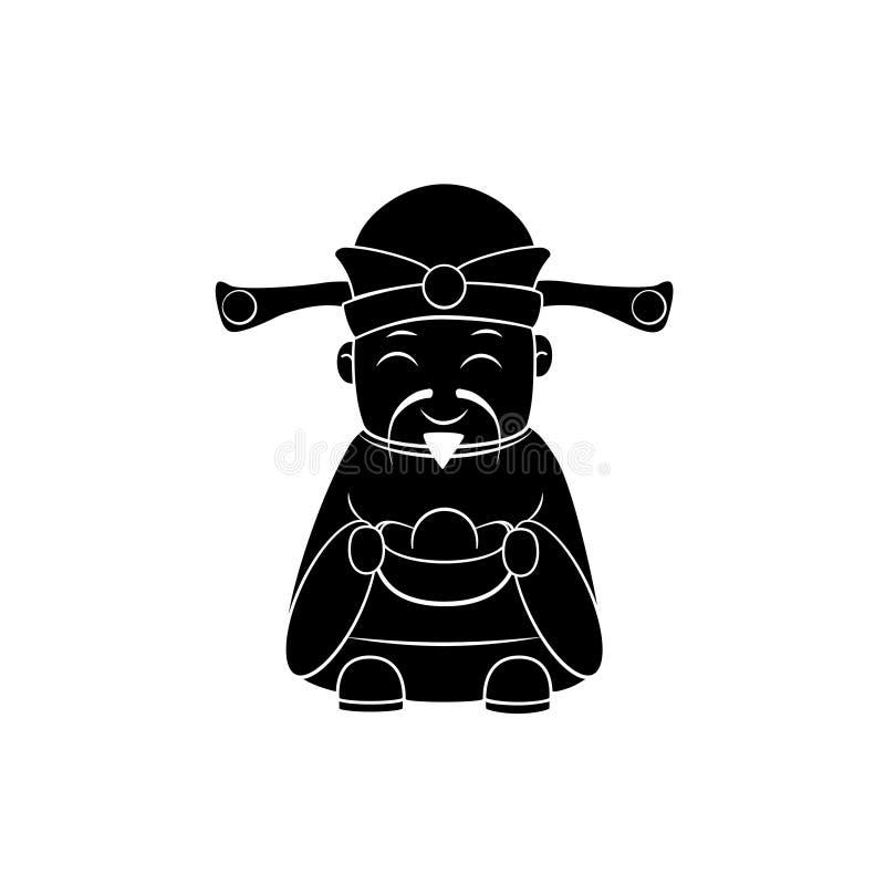 Китайский силуэт бога денег иллюстрация вектора