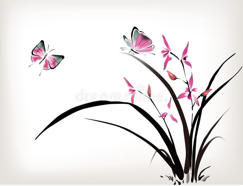 Орхидея и бабочка бесплатная иллюстрация