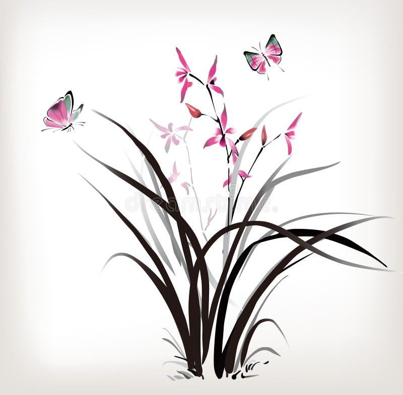 Орхидея и бабочка иллюстрация штока