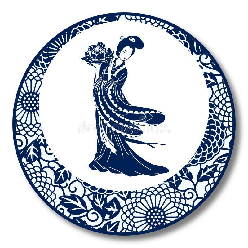 Китайский традиционный фарфор сини и белых, китайская красота иллюстрация штока