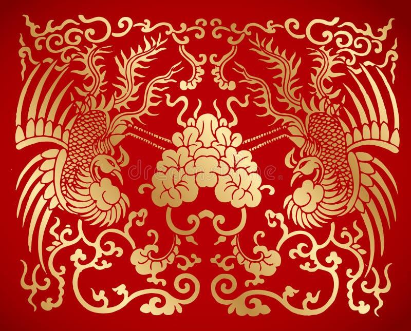 Китайский традиционный год сбора винограда 2 Феникс иллюстрация штока