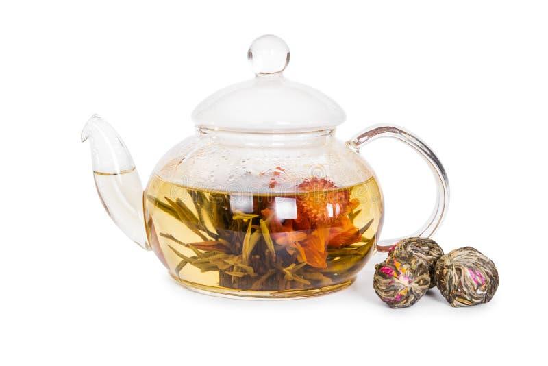 Китайский цветя чай в стеклянном чайнике стоковое фото rf