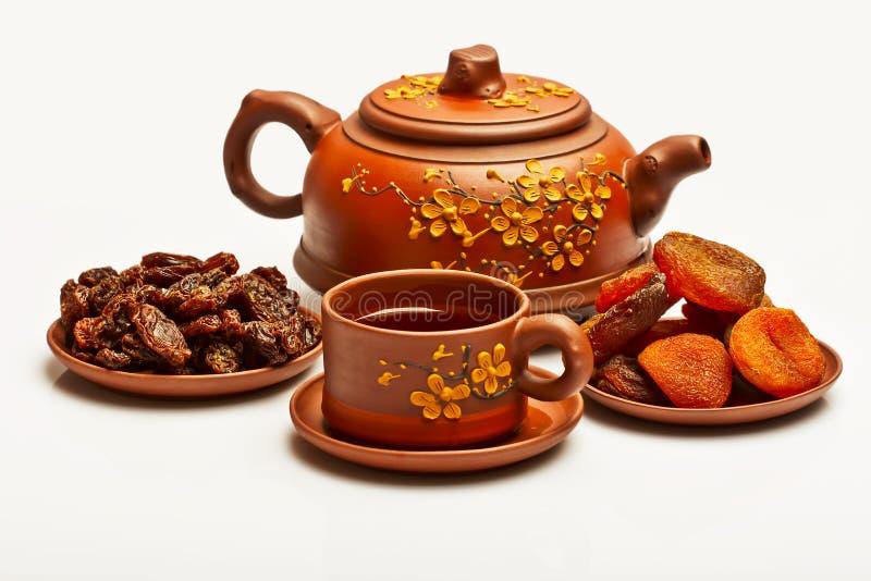 Китайский чай, и высушенные плодоовощи стоковые фотографии rf