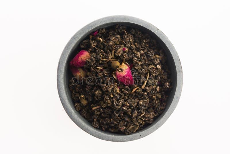 Китайский чай с розовыми бутонами стоковое изображение rf