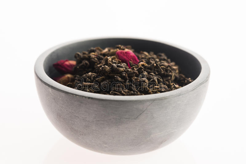 Китайский чай с розовыми бутонами стоковая фотография