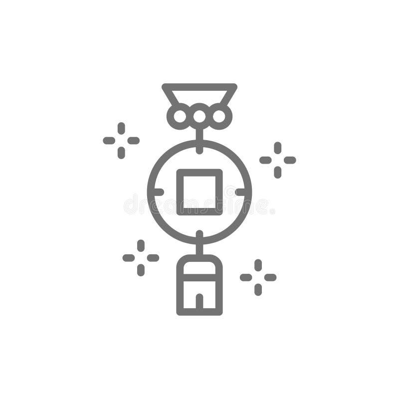 Китайский шарм, линия значок монетки shui feng иллюстрация вектора