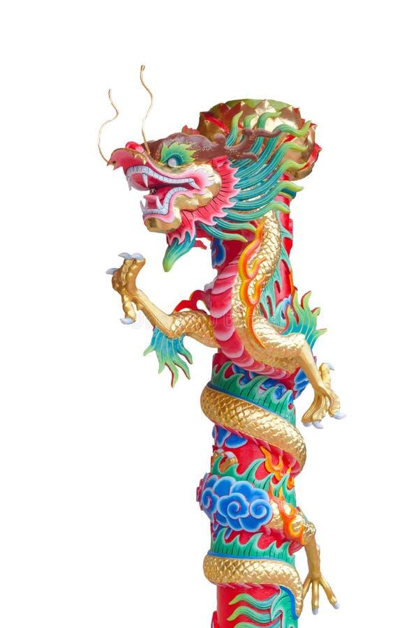 Китайский штендер скульптуры дракона стоковые изображения rf