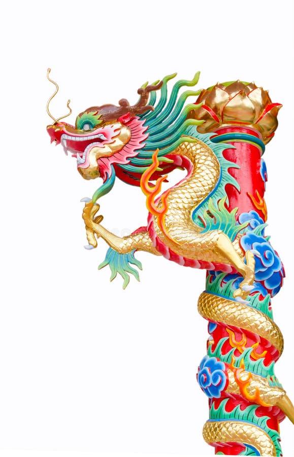 Китайский штендер скульптуры дракона стоковое фото