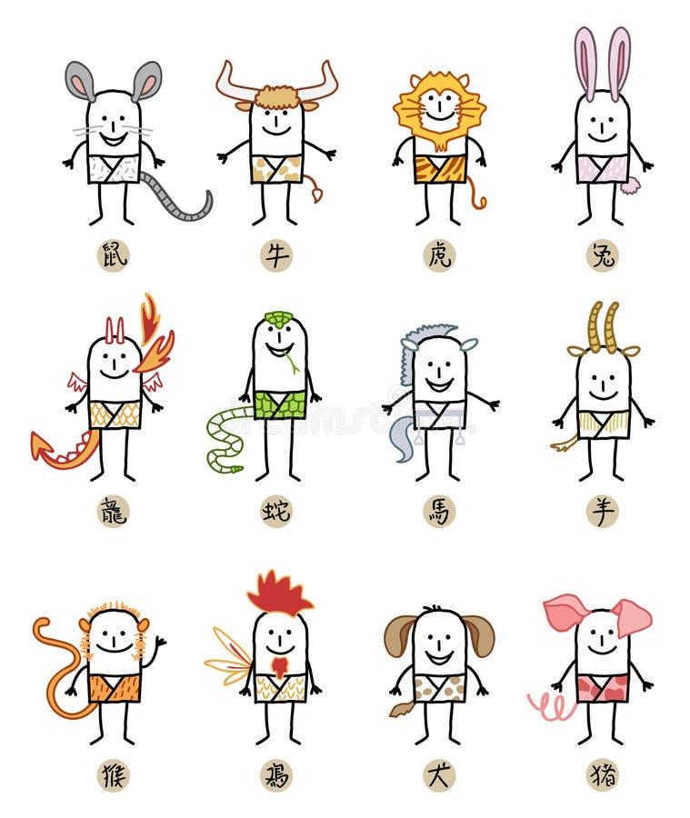 12 китайских знаков персонажей из мультфильма зодиака иллюстрация вектора