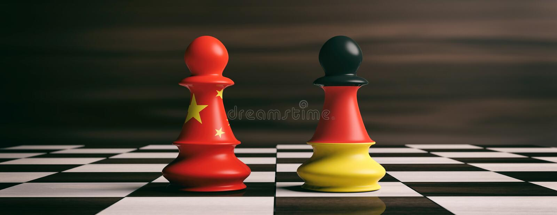 Китай и Германия сигнализируют на пешках шахмат на доске иллюстрация 3d иллюстрация вектора