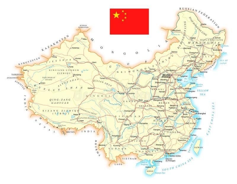 Китай - карта большой детальной дороги топографическая иллюстрация вектора