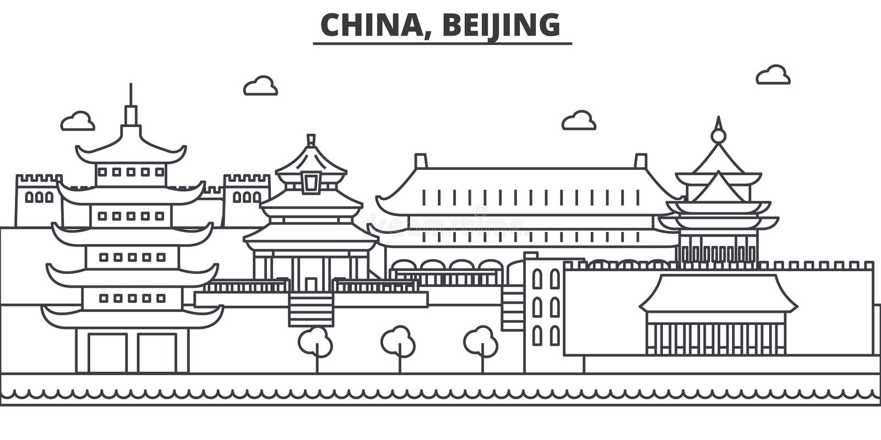 Китай, линия иллюстрация архитектуры Пекина горизонта Линейный городской пейзаж с известными ориентир ориентирами, визирования ве иллюстрация штока