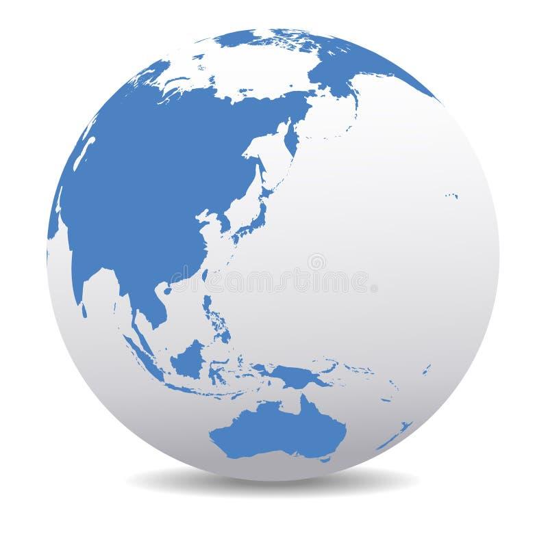 Китай, Япония, Малайзия, глобальная земля планеты мира, Таиланд, Индонезия, глобальный мир иллюстрация штока