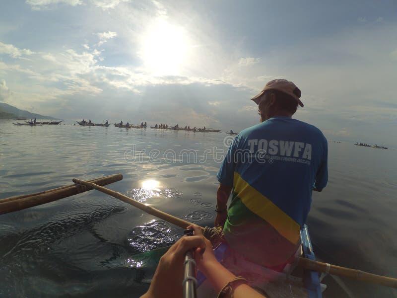 Китовая акула Oslob наблюдая Butanding 2017 стоковые изображения