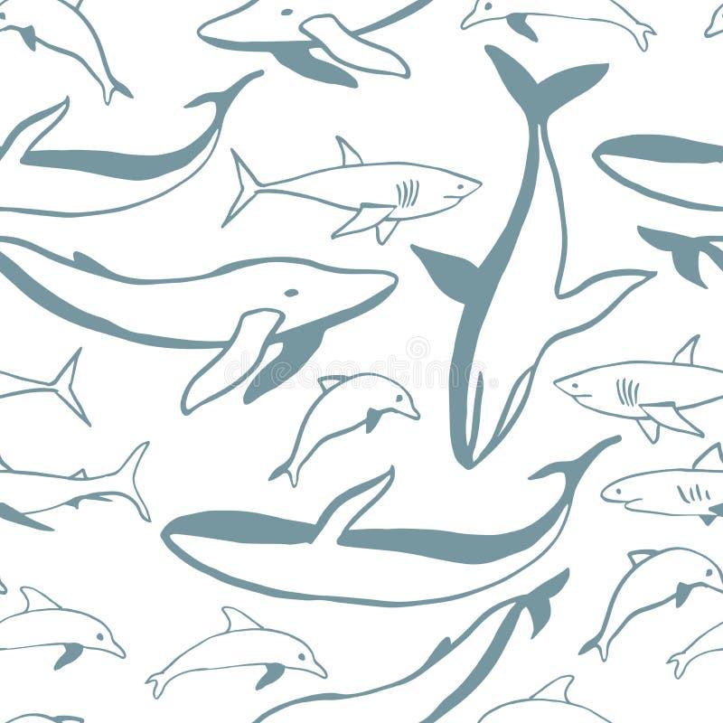 Киты, дельфины и акулы руки вычерченные иллюстрация вектора