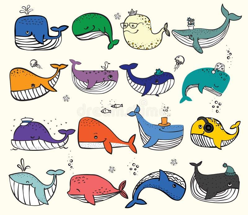 Киты океана Doodle в цвете и других inhabitans моря бесплатная иллюстрация