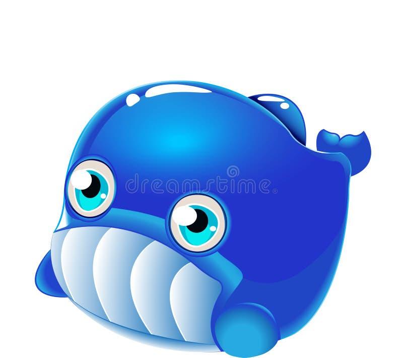 Кит - милое собрание мультфильма морской жизни под характерами воды животными бесплатная иллюстрация