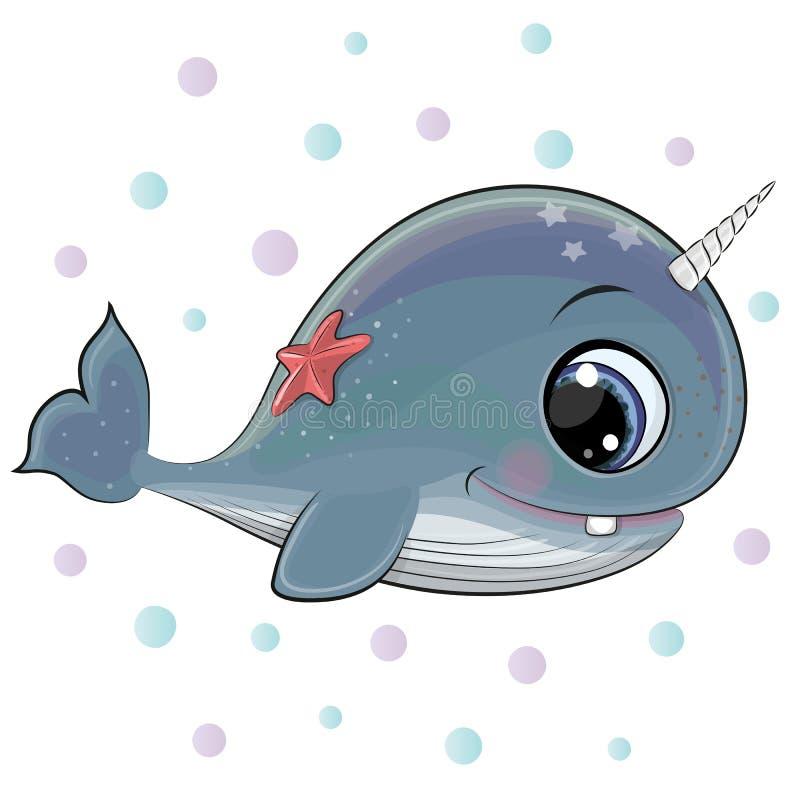 Кит мультфильма с морскими звёздами на белой предпосылке иллюстрация штока