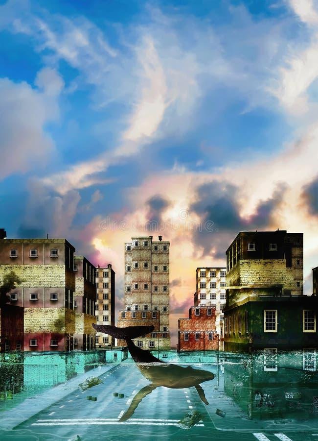 Кит плавает улицы затопленного города иллюстрация штока