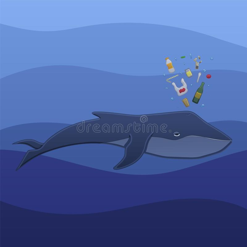 Whale with trash under the water. The whale swims under the blue ocean water and spouts trash in profile in vector. The trash consists of a plastic and glass stock illustration