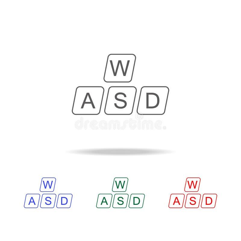 клавиатура застегивает значок WASD Элементы жизни игры в multi покрашенных значках Наградной качественный значок графического диз иллюстрация вектора