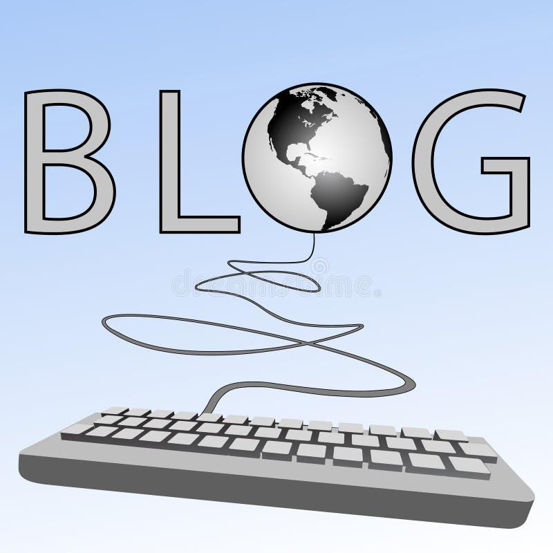 клавиатура земли компьютера блогов blogosphere иллюстрация вектора