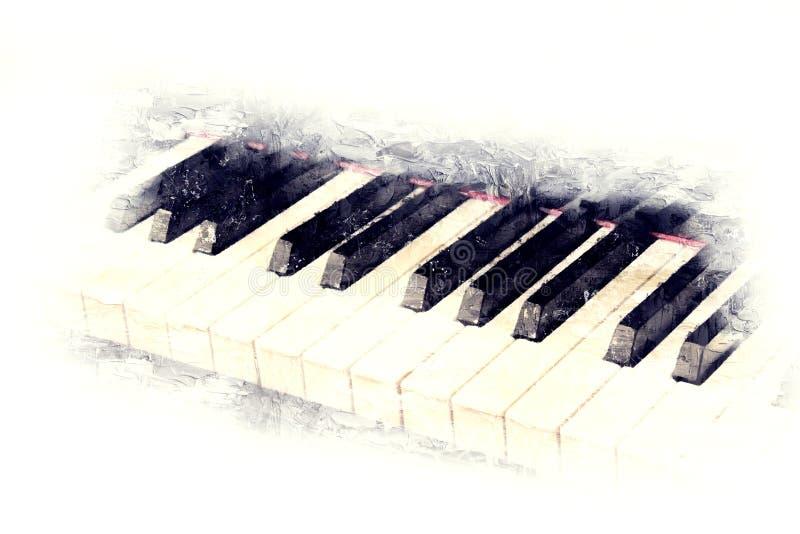 Клавиатура картины акварели переднего плана рояля бесплатная иллюстрация