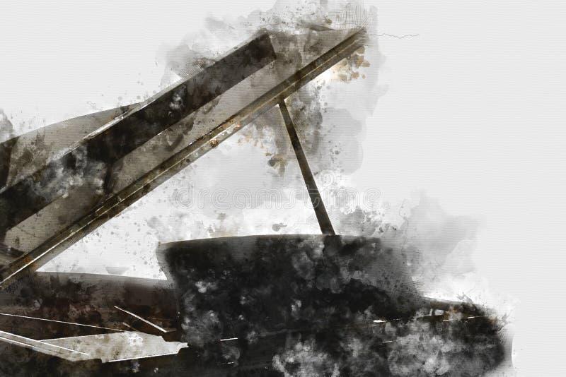 Клавиатура картины акварели переднего плана рояля иллюстрация вектора