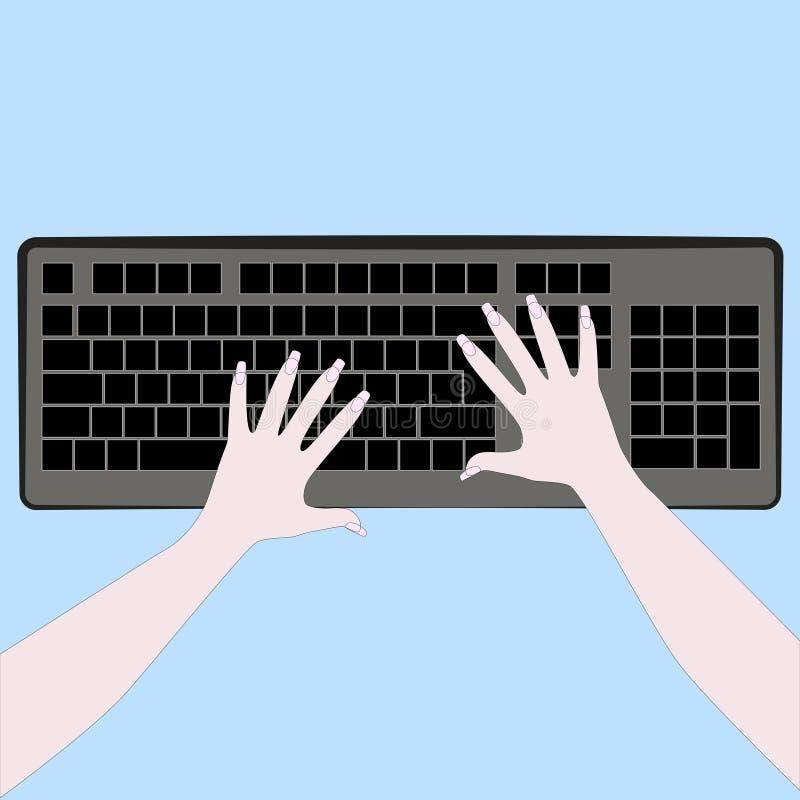 Клавиатура компьютера и женские руки иллюстрация штока