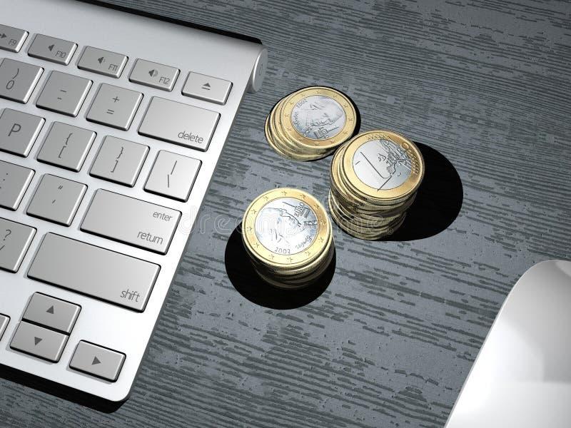 Клавиатура компьютера, кнопка поиска поисковая система, онлайн банк, банк интернета Вклад денег чеканит евро иллюстрация вектора