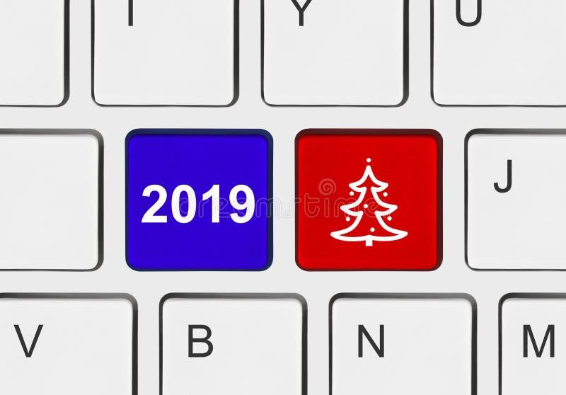 Клавиатура компьютера с ключами рождества бесплатная иллюстрация