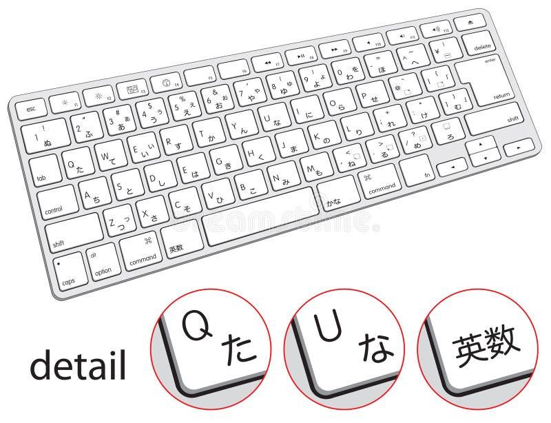 Клавиатура компьютера с японскими символами, иероглифами, хирагана иллюстрация вектора