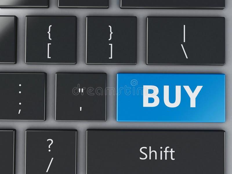 клавиатура компьютера 3d с кнопкой покупки иллюстрация вектора