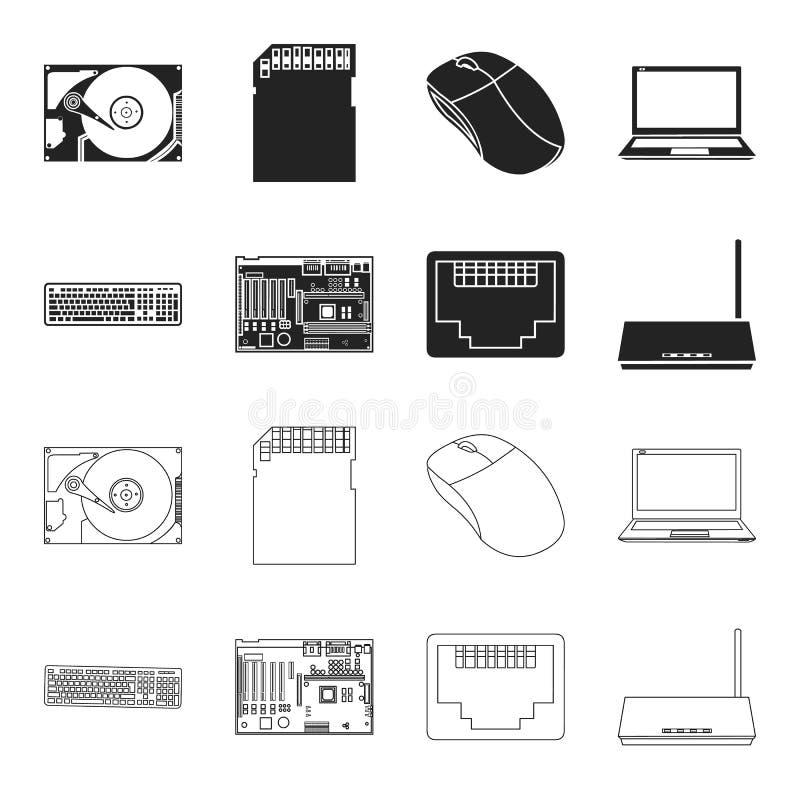 Клавиатура, маршрутизатор, материнская плата и соединитель Значки собрания персонального компьютера установленные в черноте, симв бесплатная иллюстрация