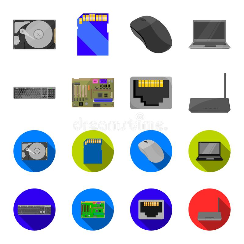Клавиатура, маршрутизатор, материнская плата и соединитель Значки собрания персонального компьютера установленные в шарже, плоско иллюстрация штока