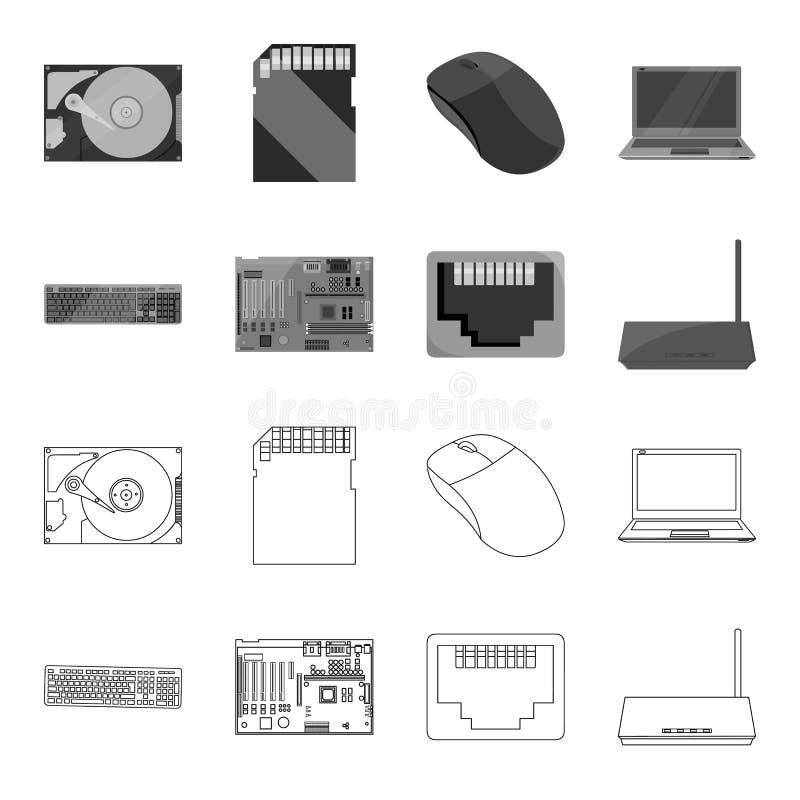 Клавиатура, маршрутизатор, материнская плата и соединитель Значки собрания персонального компьютера установленные в плане, monoch бесплатная иллюстрация