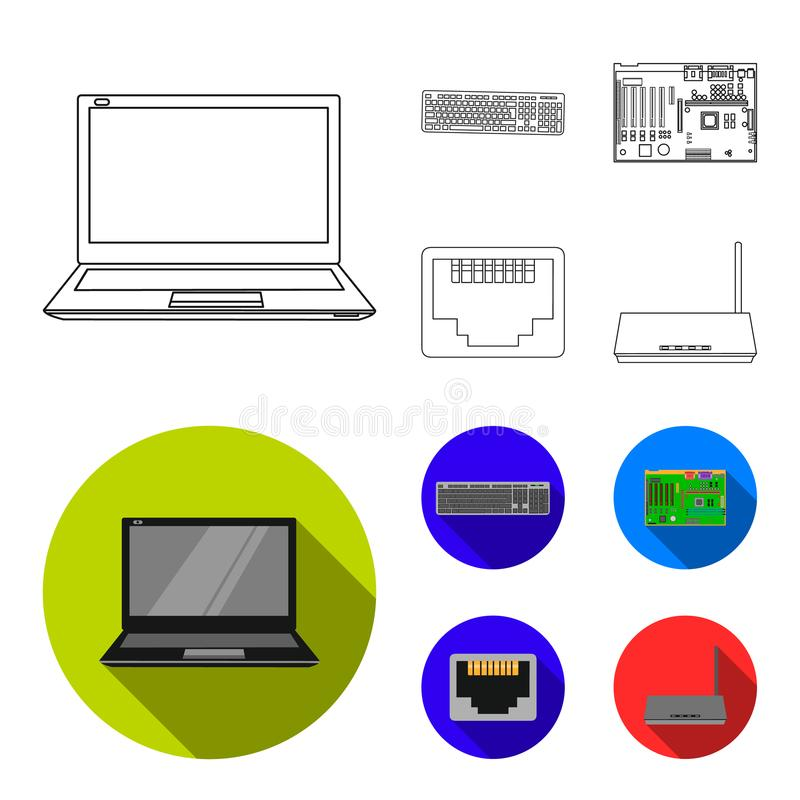 Клавиатура, маршрутизатор, материнская плата и соединитель Значки собрания персонального компьютера установленные в плане, плоско бесплатная иллюстрация