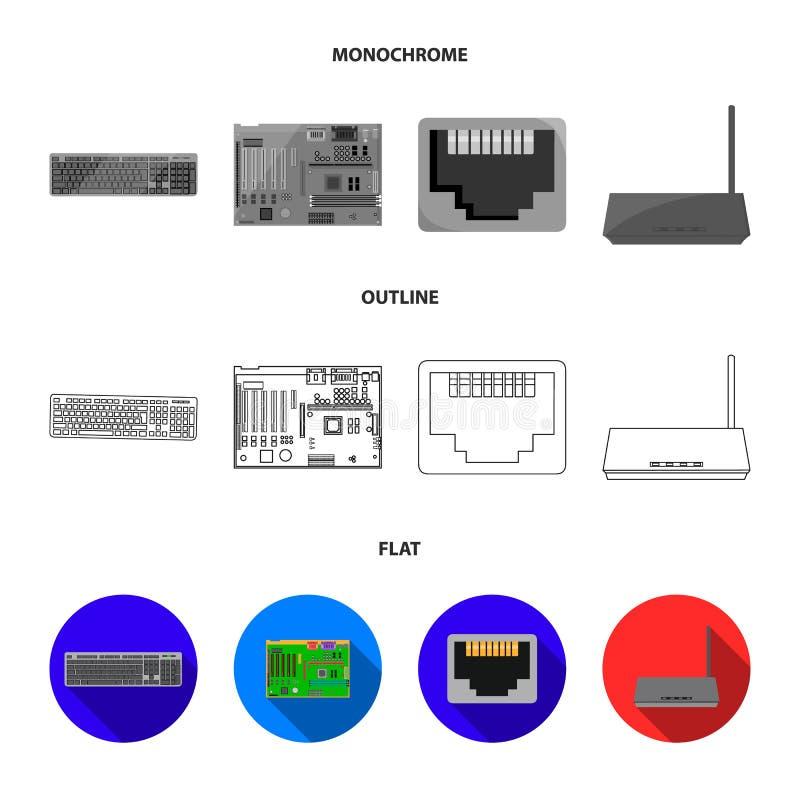 Клавиатура, маршрутизатор, материнская плата и соединитель Значки собрания персонального компьютера установленные в квартире, пла иллюстрация штока