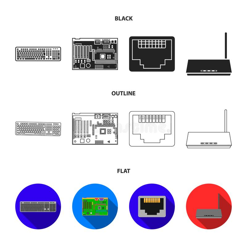 Клавиатура, маршрутизатор, материнская плата и соединитель Значки собрания персонального компьютера установленные в черной, плоск иллюстрация штока