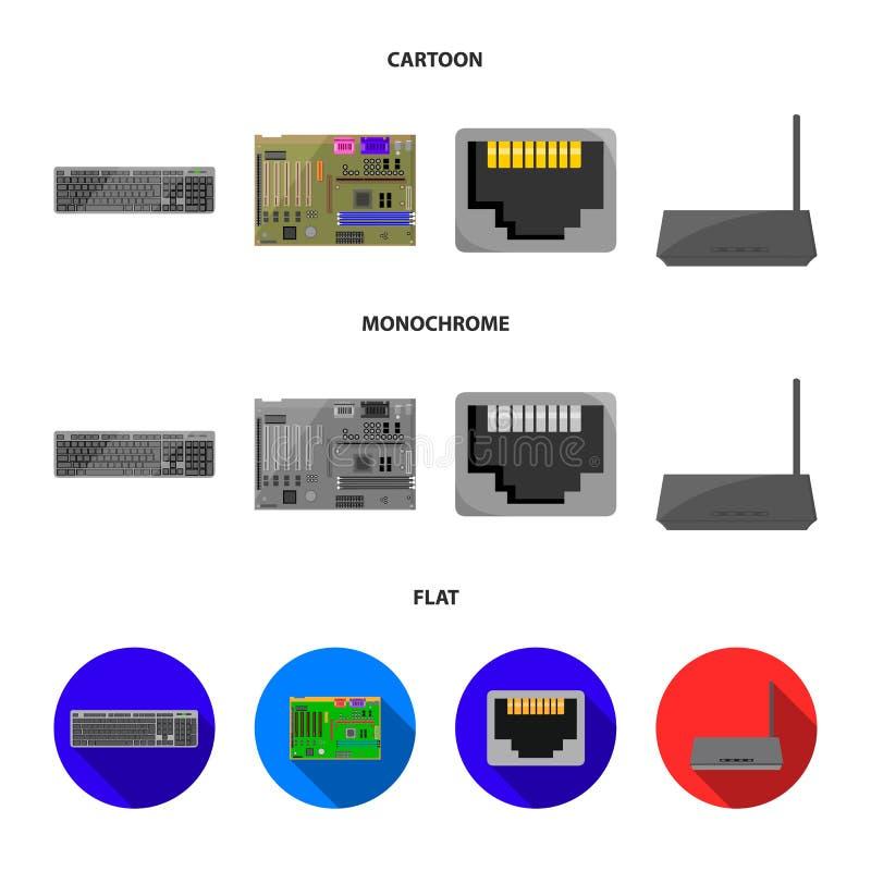 Клавиатура, маршрутизатор, материнская плата и соединитель Значки собрания персонального компьютера установленные в шарже, плоско бесплатная иллюстрация