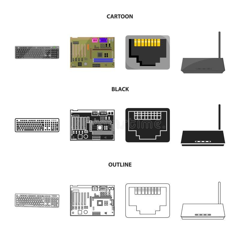 Клавиатура, маршрутизатор, материнская плата и соединитель Значки собрания персонального компьютера установленные в шарже, чернот иллюстрация штока